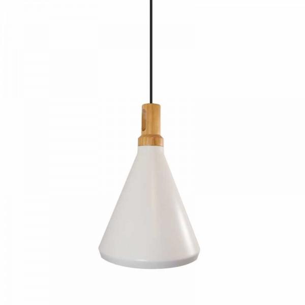 Lampa wisząca NORDIC WOODY biało drewniana 25 cm