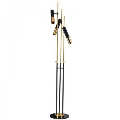 Lampa stojąca GOLDEN PIPE-3 czarno złota 180 cm