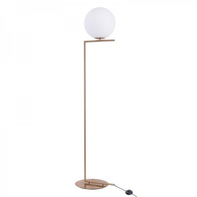Lampa stojąca SOLARIS biało mosiężna 174 cm